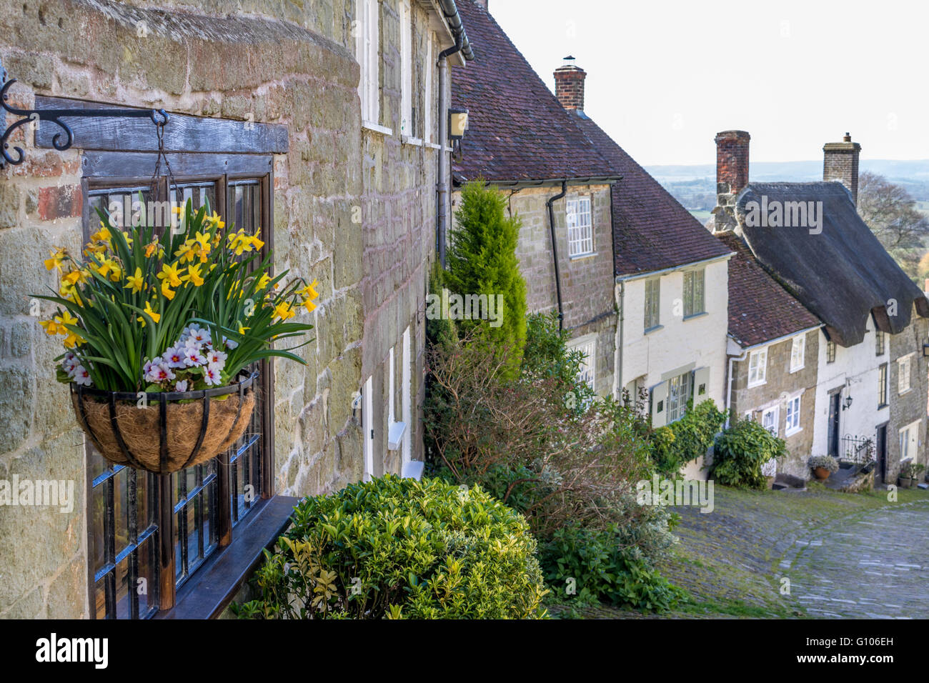 England Dorset Shaftesbury Gold Hill - Stock Image
