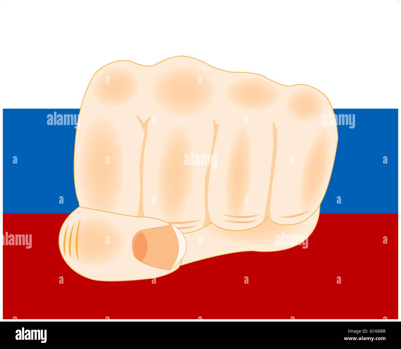 Fist on background of the banner to russia - Stock Vector