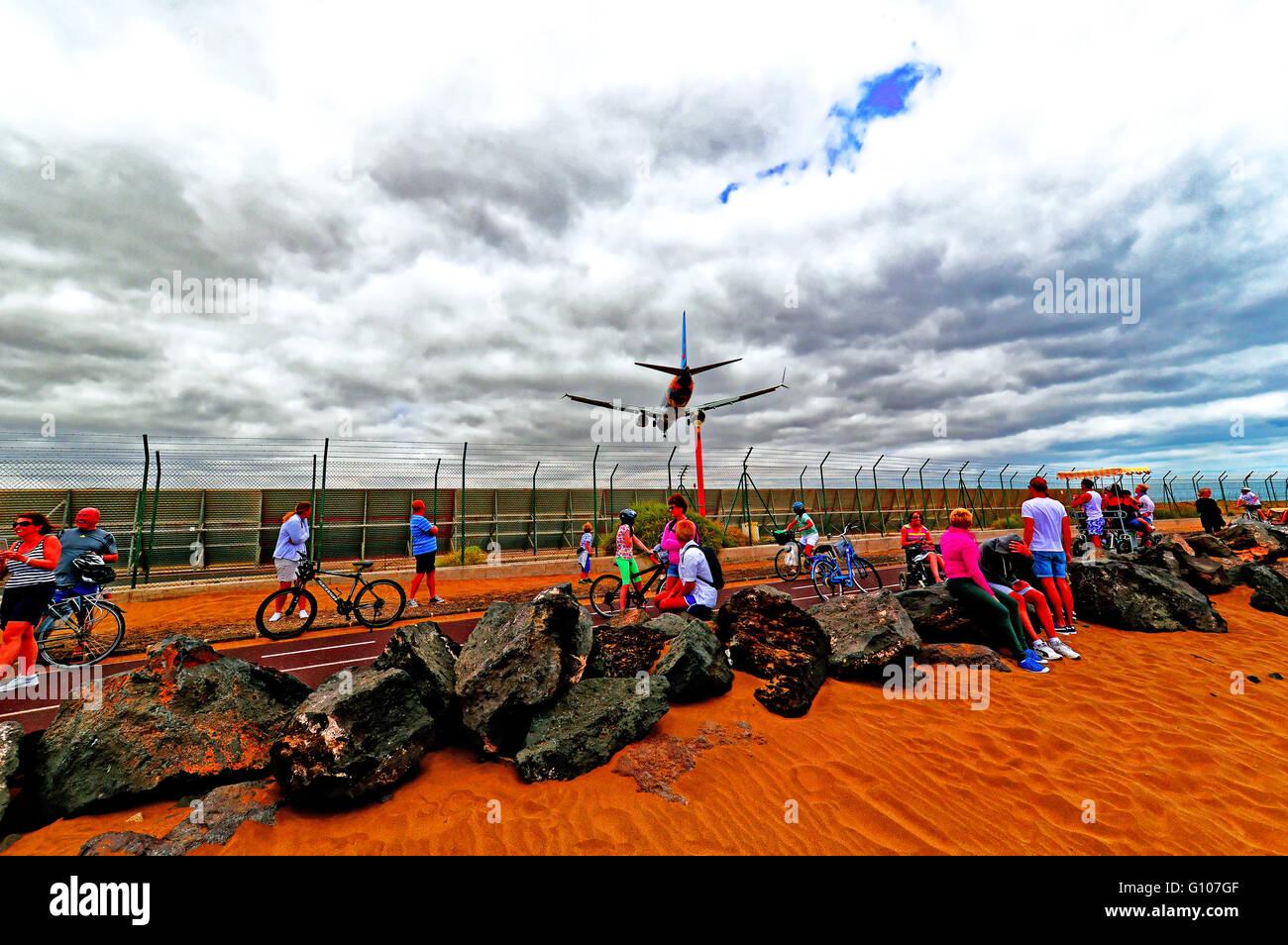 Lanzarote Thompson passenger plane landing at Arrecife airport - Stock Image