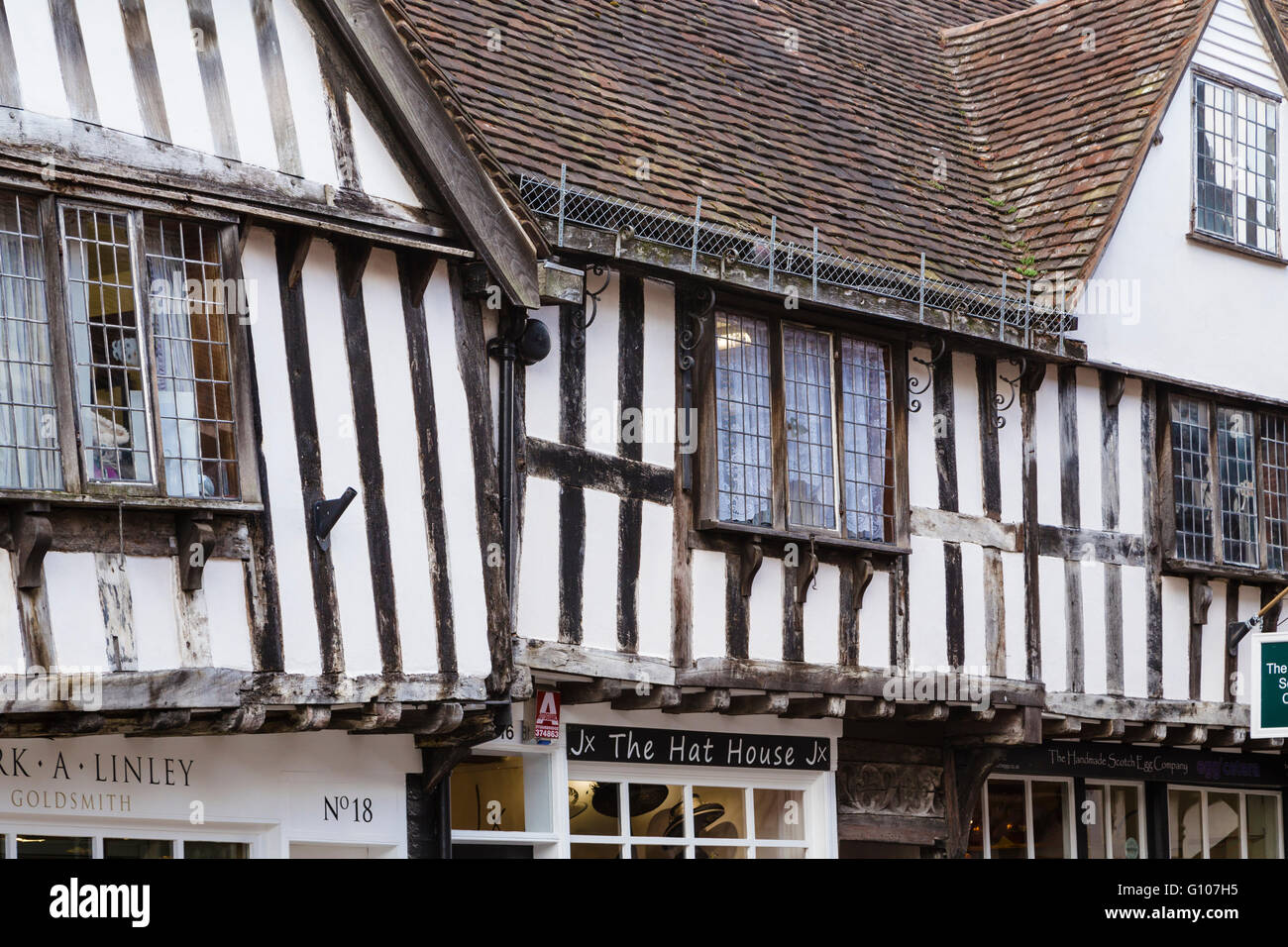 Picturesque timber-framed Tudor houses on the High Street, Worcester. - Stock Image