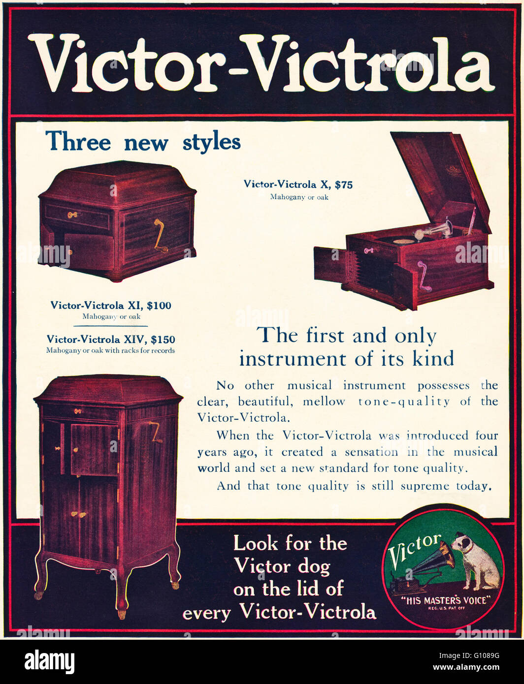 Original old vintage American magazine full page colour advert from the Edwardian era dated 1910. Advertisement - Stock Image