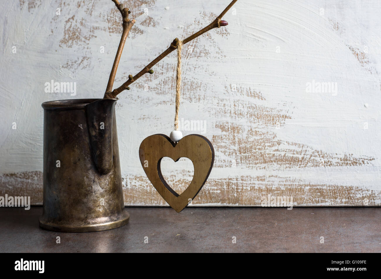 Bright Color Hearts On The Tree Branch In A Jar Rustic Background For St Valentines Day Celebration