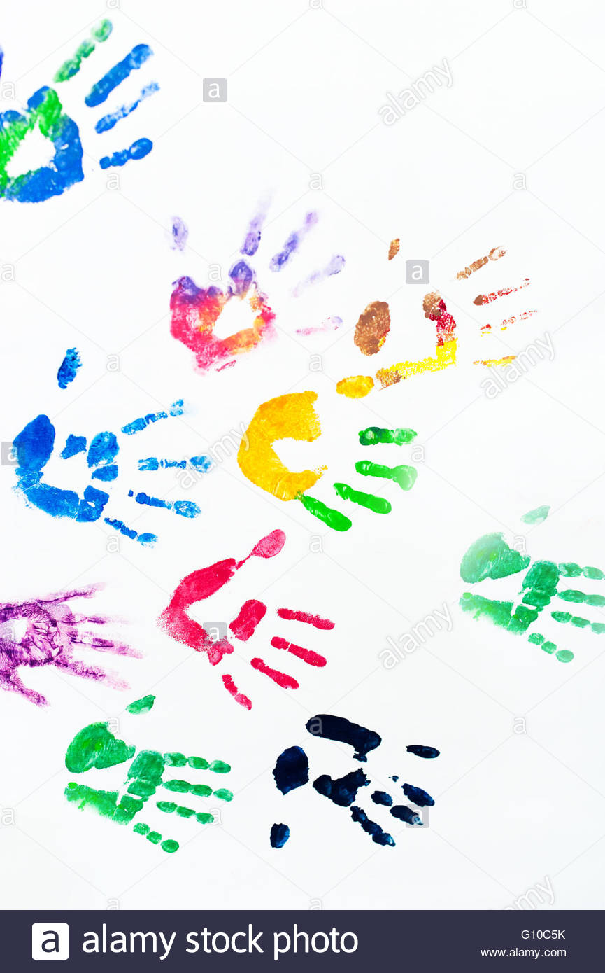 Rainbow colors arm prints abstract on white background. - Stock Image