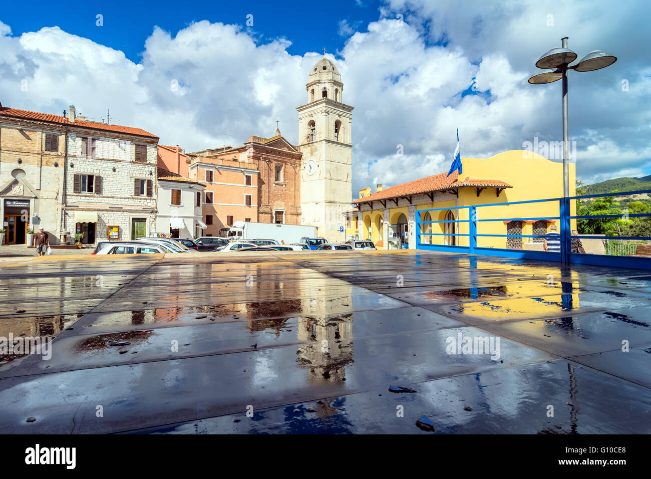 street view with tourists in Sirolo, Italy. - Stock Image