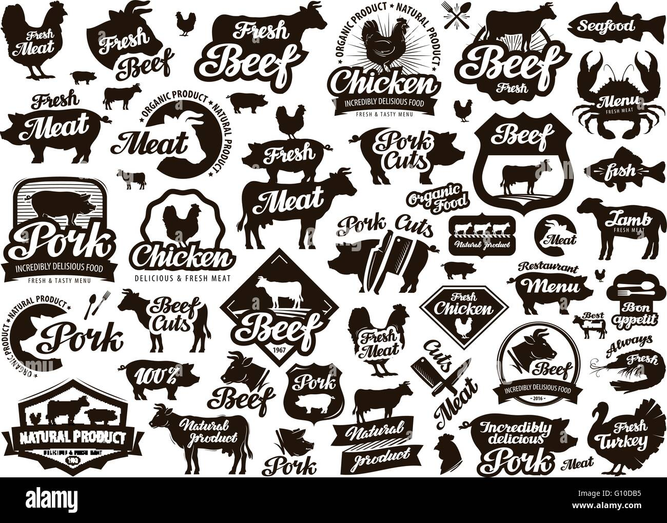 Restaurant Cafe Vector Logo Food Meat Or Menu Cooking Icon Stock Vector Image Art Alamy