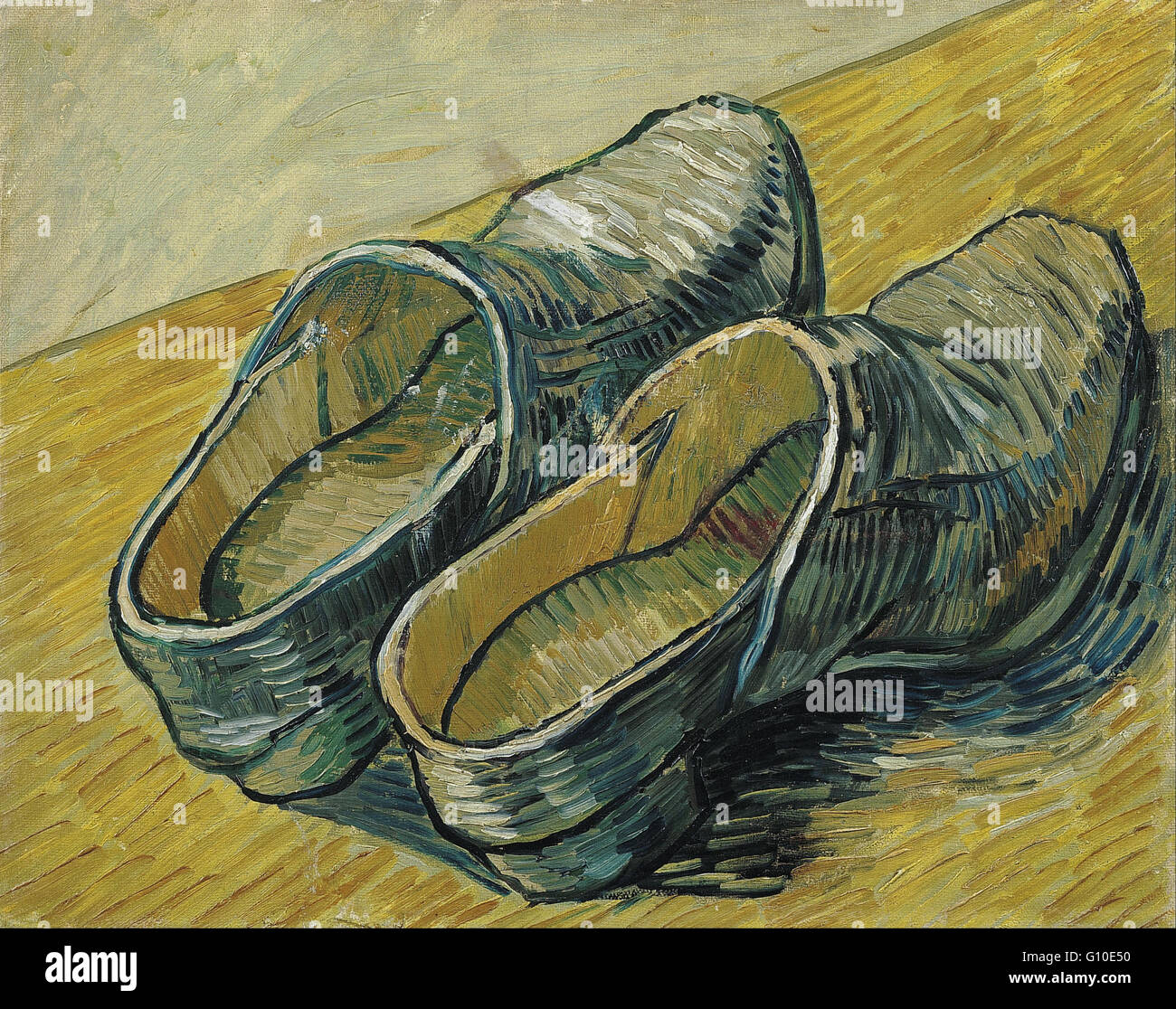 Vincent van Gogh - A pair of leather clogs - Van Gogh Museum, Amsterdam - Stock Image