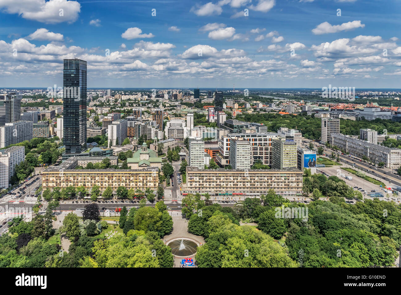 View from the Palace of Culture and Science (Palac Kultury i Nauki) over the Polish capital Warsaw, Masovian, Poland, - Stock Image