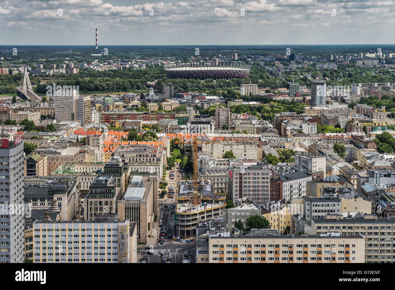 View from the Palace of Culture and Science over Warsaw and to the national stadium, Warsaw, Masovian, Poland, Europe - Stock Image