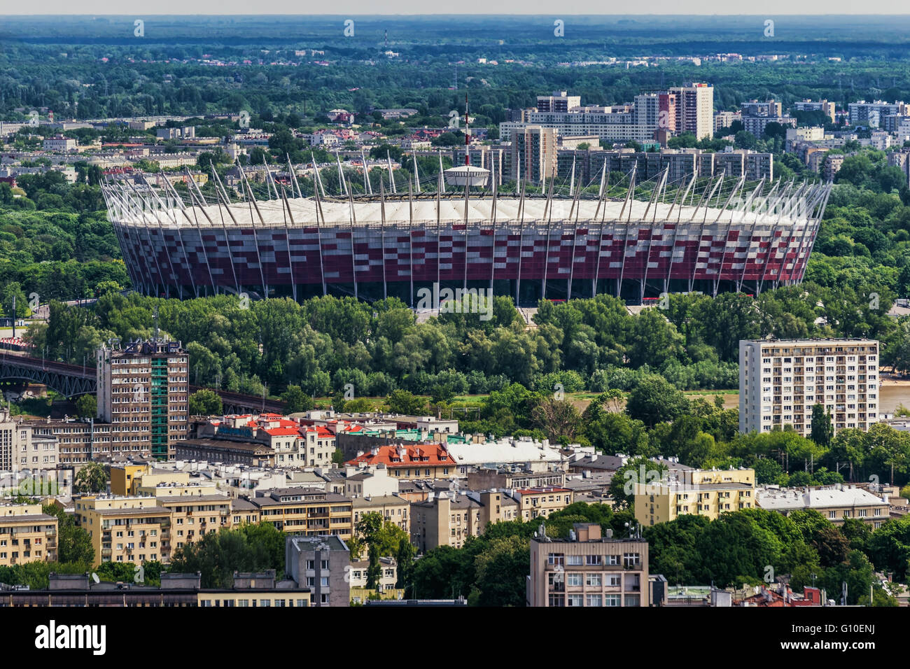 View from the Palace of Culture and Science (Palac Kultury i Nauki) to the national stadium, Warsaw, Masovian, Poland, - Stock Image