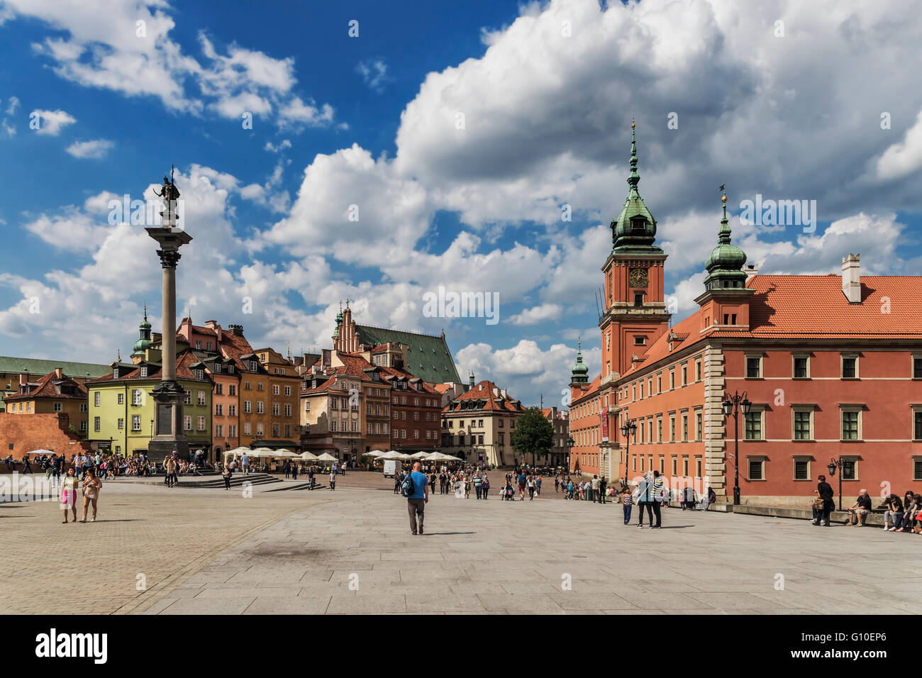 The Palace Square with Sigismunds Column and the Royal Castle, Warsaw, Masovian, Poland, Europe Stock Photo