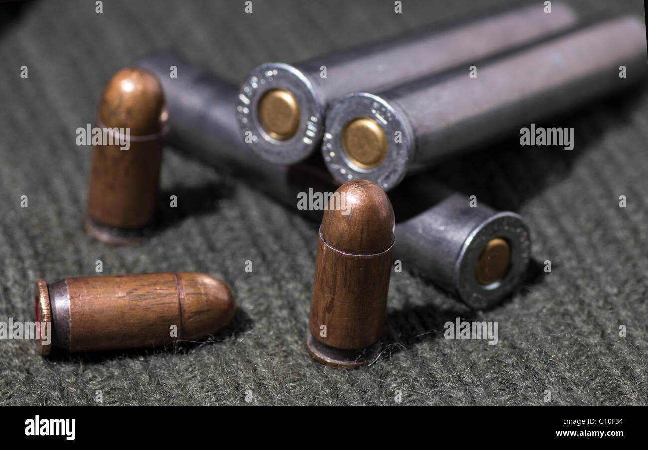 Rifle and pistol bullets - Stock Image
