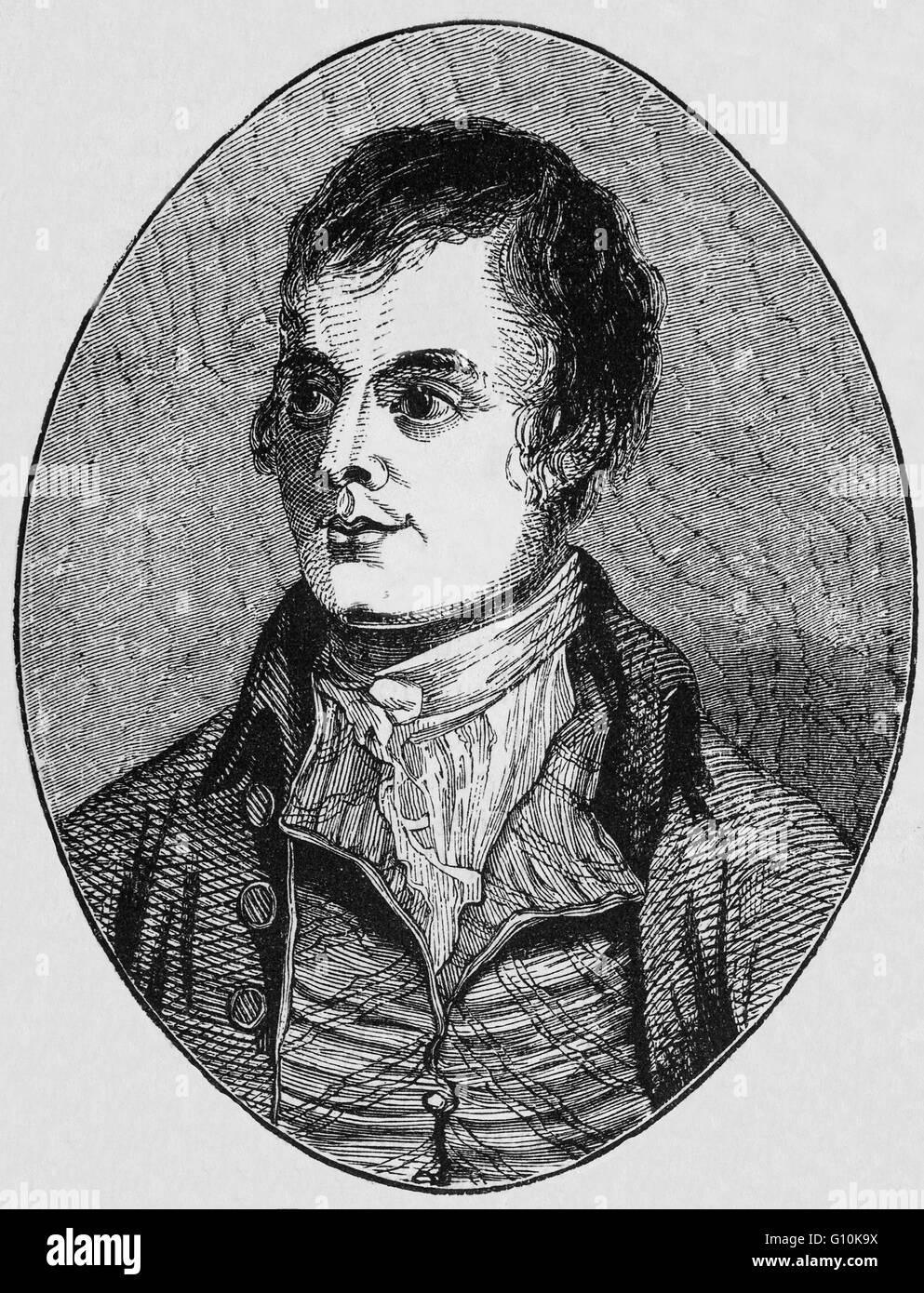 Robert Burns (1759 – 1796), also known as Rabbie Burns, the Bard of Ayrshire, a Scottish poet and lyricist, widely - Stock Image