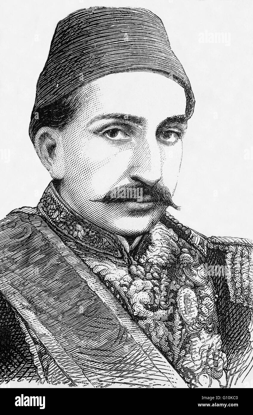 Abdul Hamid II was the 34th Sultan of the Ottoman Empire and the last Sultan to exert effective autocratic control - Stock Image