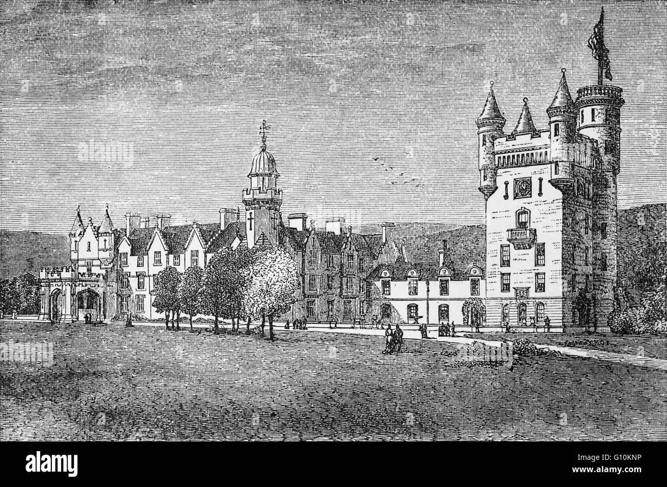 Balmoral Castle, Residence of the British Royal Family since 1852, when it was purchased by Prince Albert, consort - Stock Image