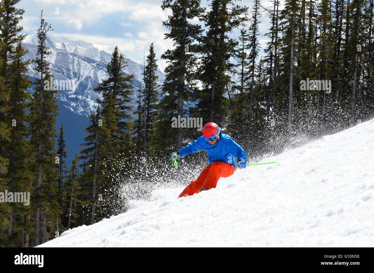 Skiing the Canadian Rockies, Alberta Stock Photo