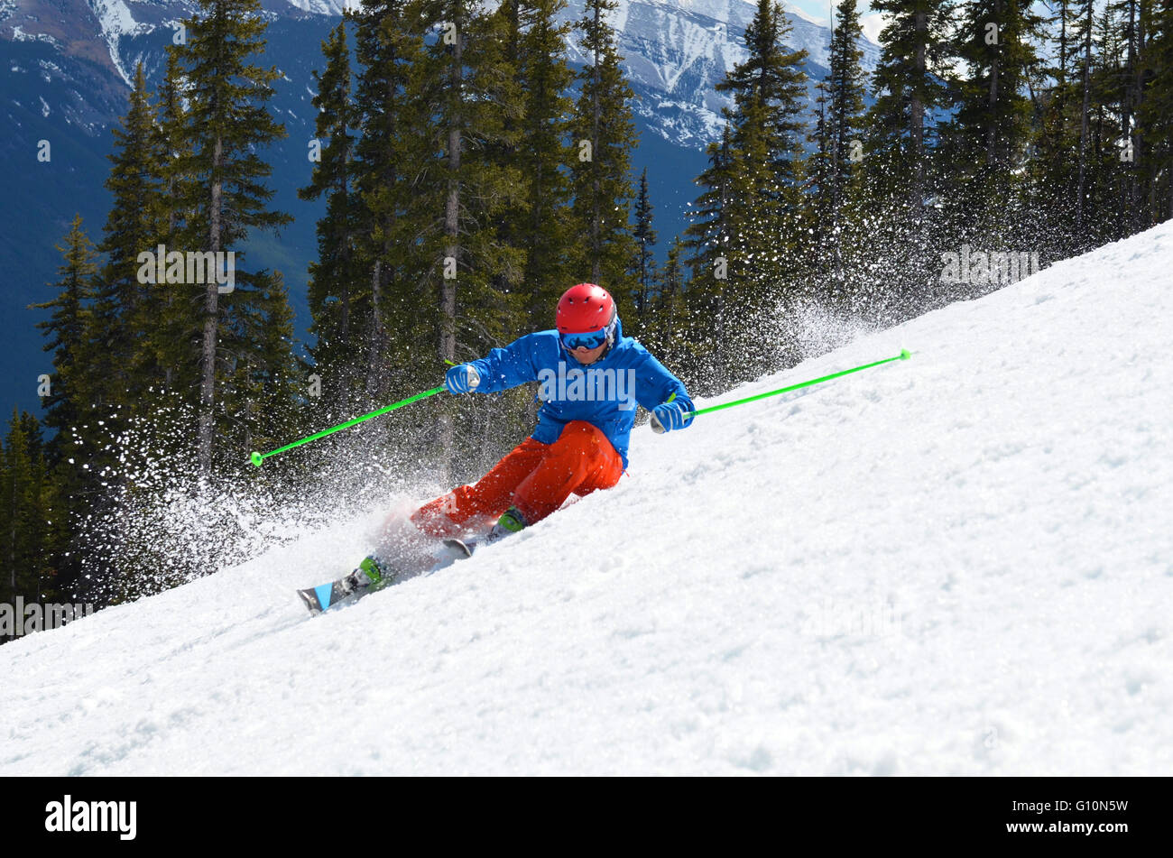 Skiing the Canadian Rockies, Alberta - Stock Image