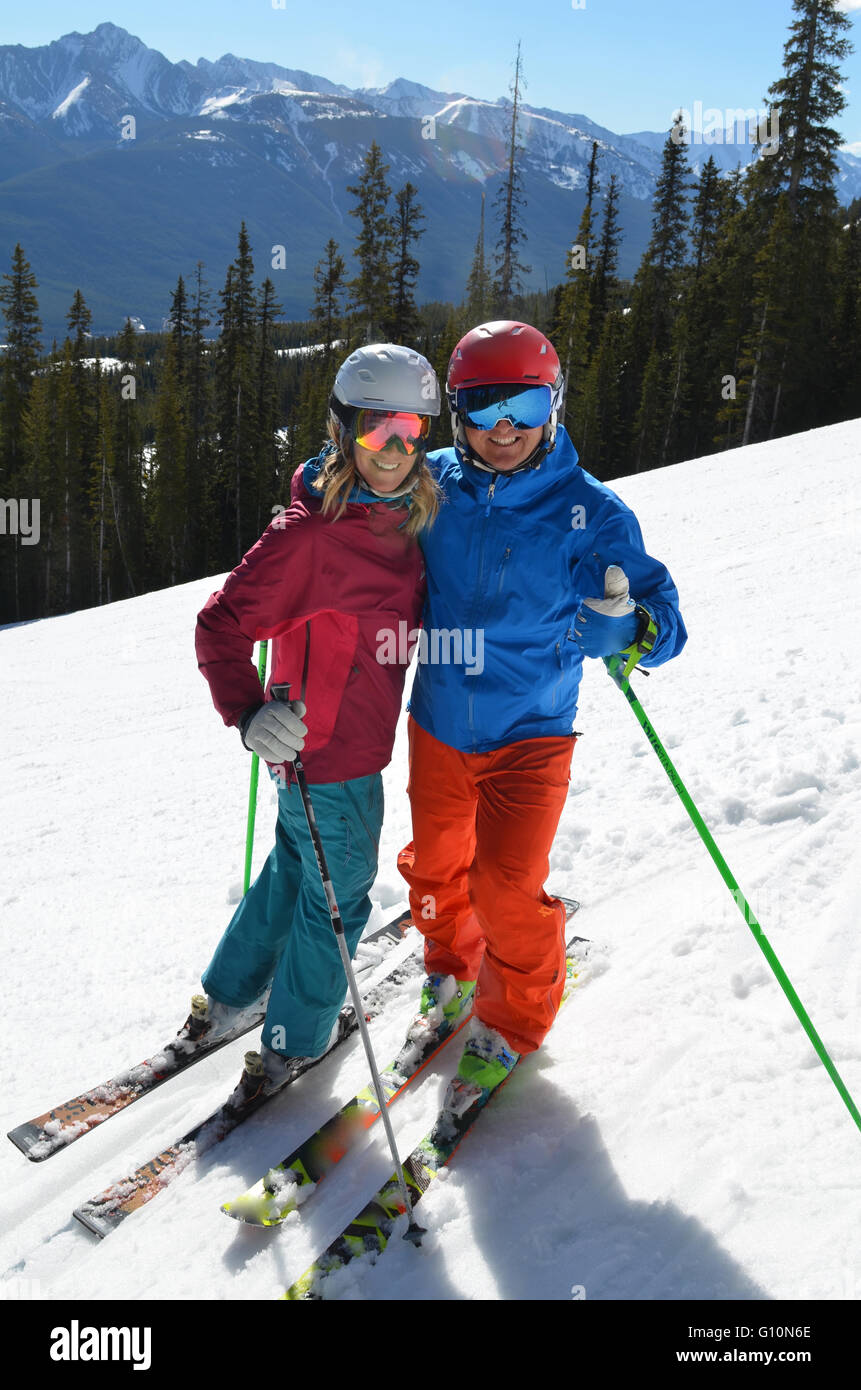 Spring skiing Canadian Rockies - Stock Image