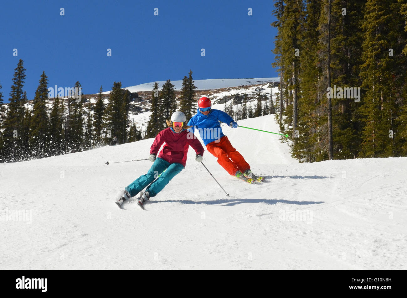 Skiing the Canadian Rockies, Alberta - Stock Image