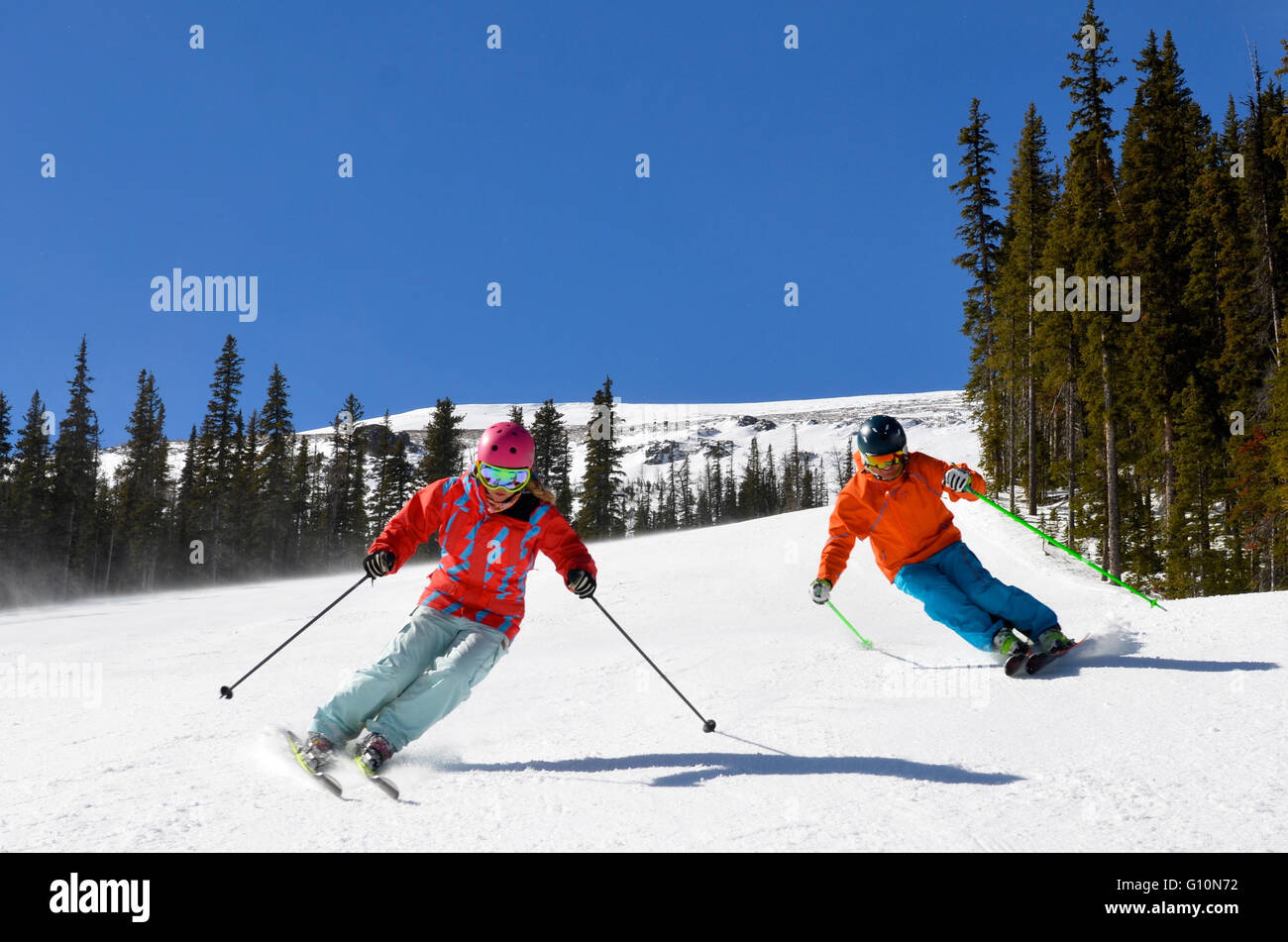 Skiing Canadian Rockies, Alberta - Stock Image