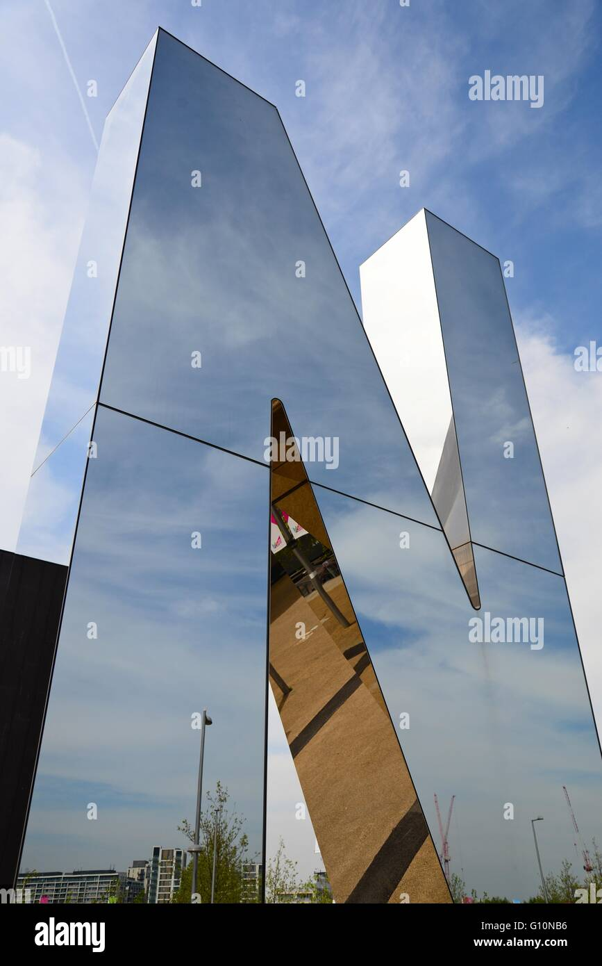 N (part of the Run) sign outside the Copper Box at the Queen Elizabeth Olympic Park, Stratford, London, England, - Stock Image