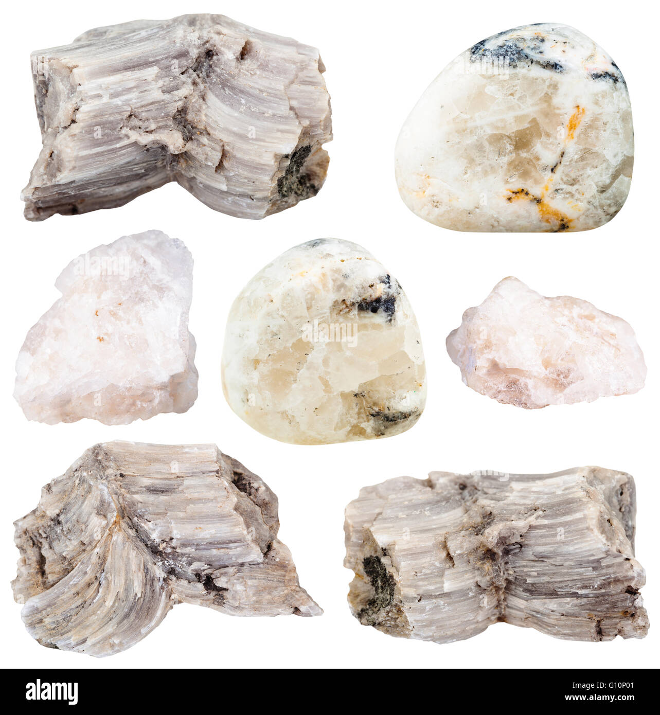 set of various baryte (barite) natural mineral stones and gemstones isolated on white background - Stock Image