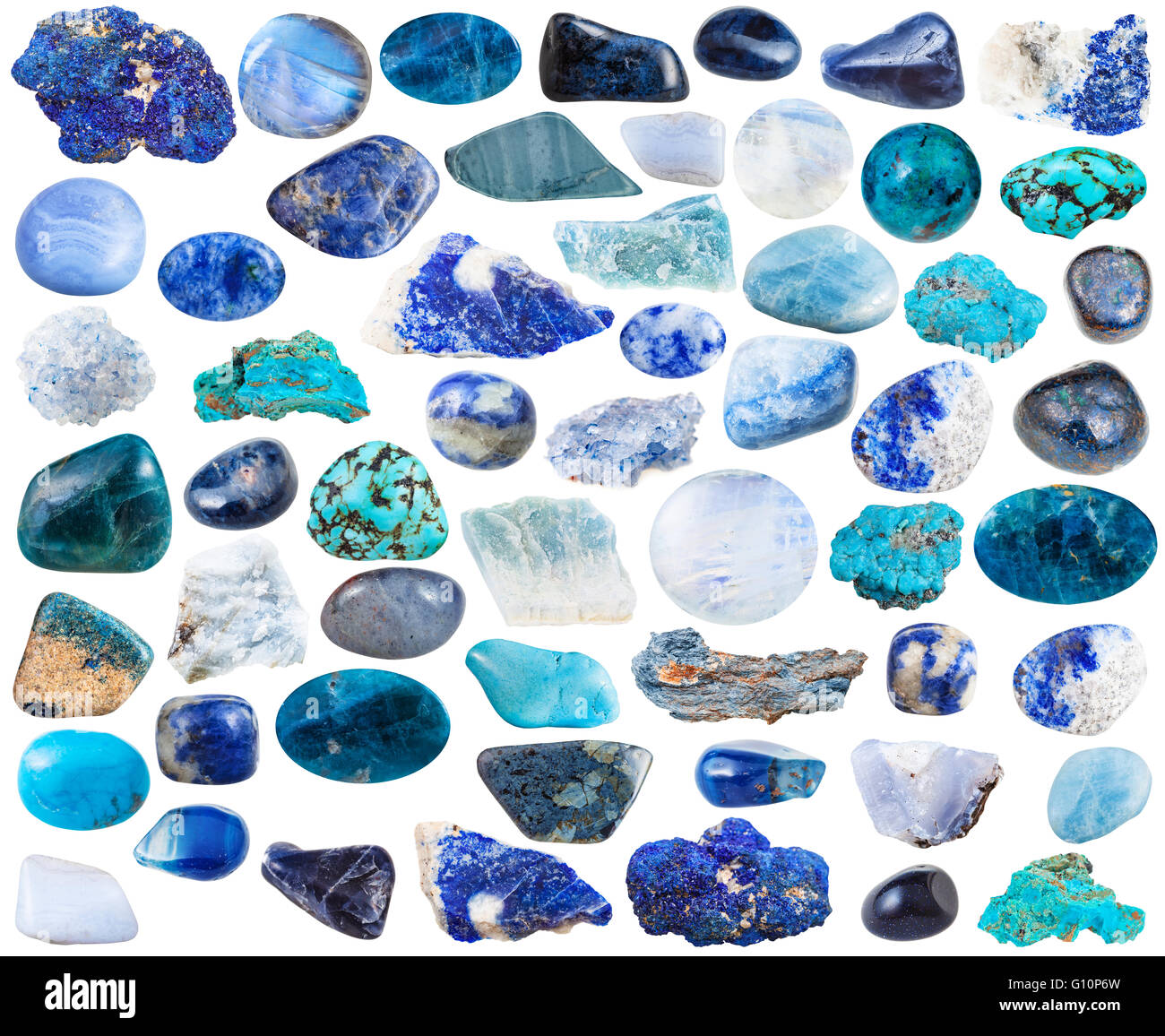 set of blue natural mineral stones and gemstones isolated on white background - Stock Image