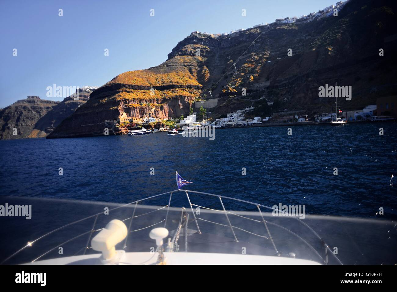 Arriving to Fira port on boat from cruise ship, Santorini, Greek Islands, Greece - Stock Image