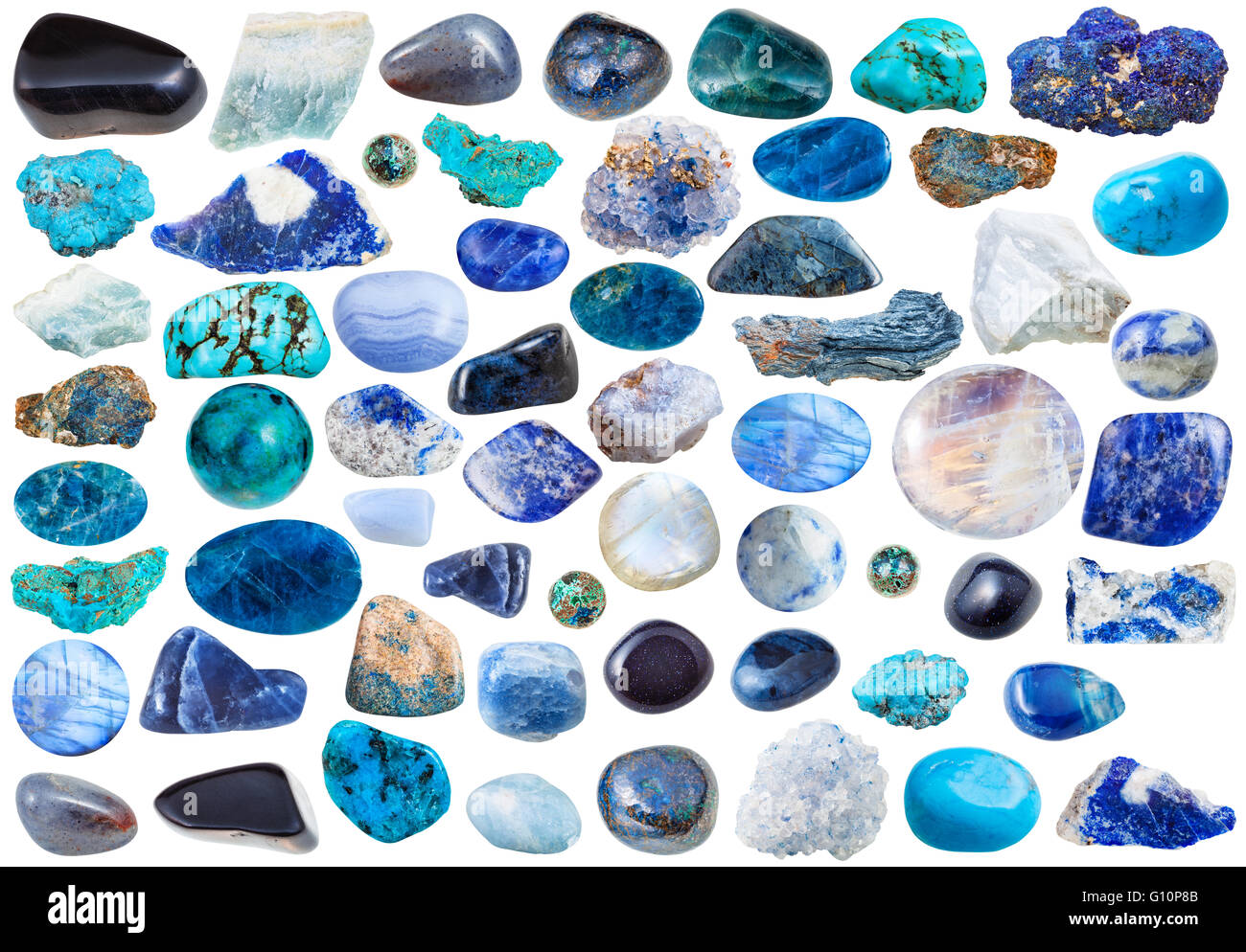 set of blue natural mineral stones and gems isolated on white background - Stock Image