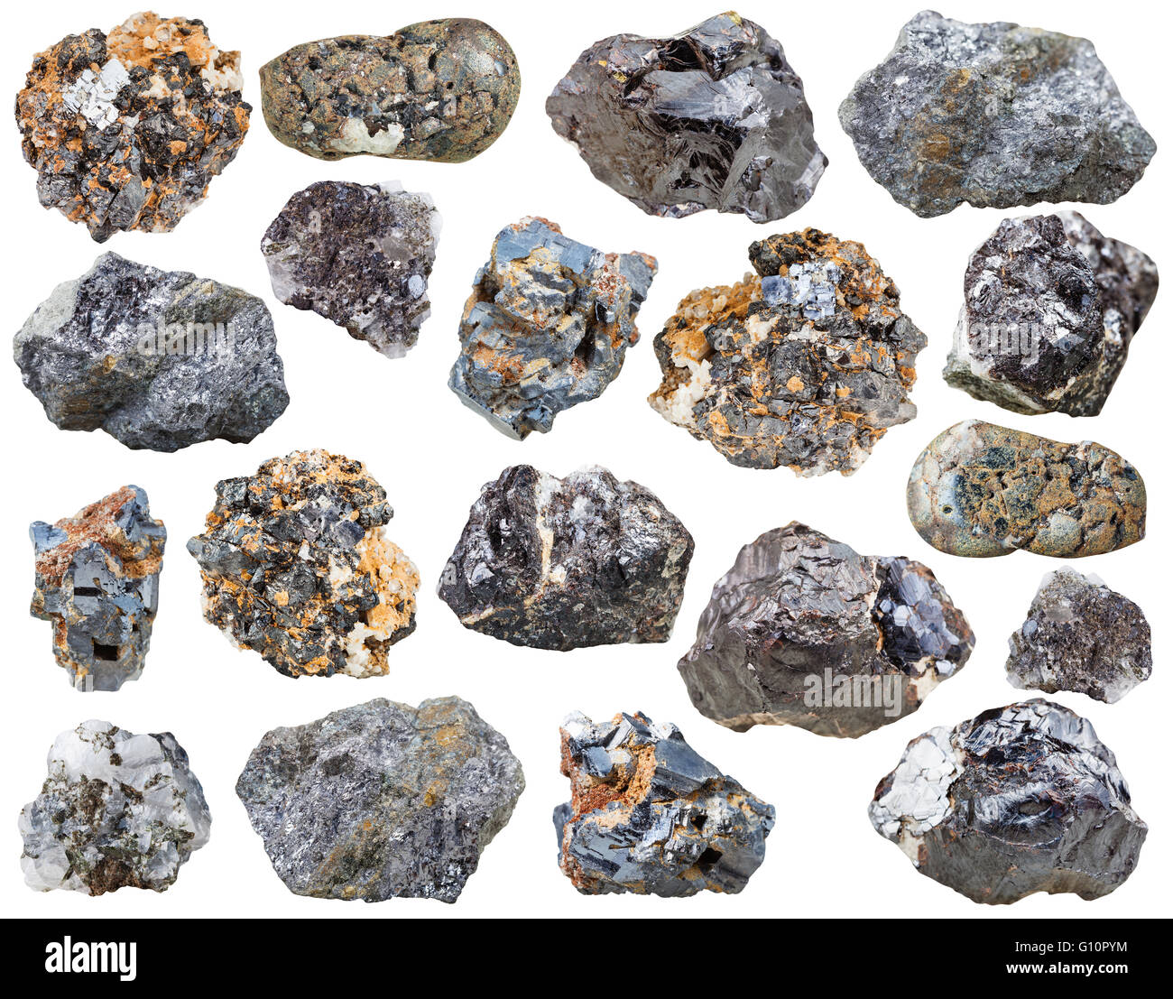 set of various galenite and sphalerite natural mineral stones and crystals isolated on white background - Stock Image