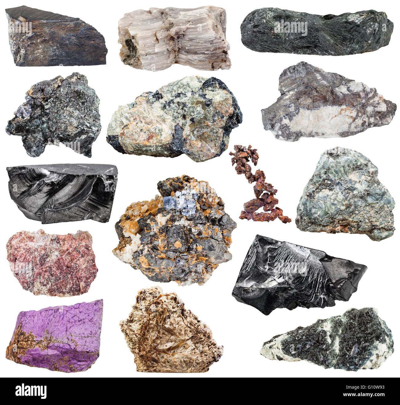 set of various natural mineral stones and rocks: purpurite, molybdenite, glaucophane, native, copper, magnetite, - Stock Image