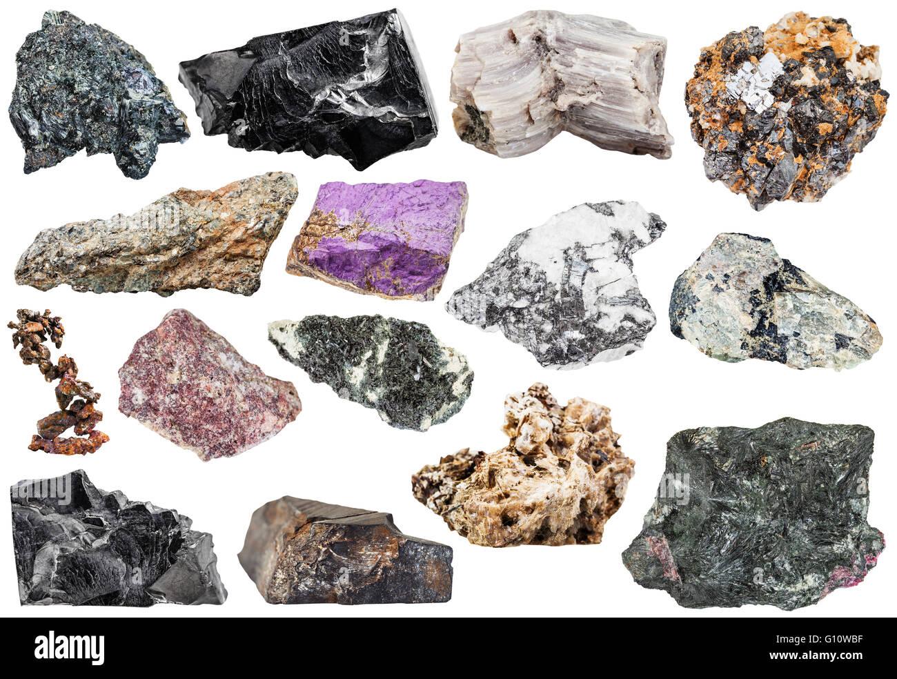 set of various natural mineral stones and rocks: copper, astrophyllite, shungite, baryte, hornblende, nepheline, - Stock Image