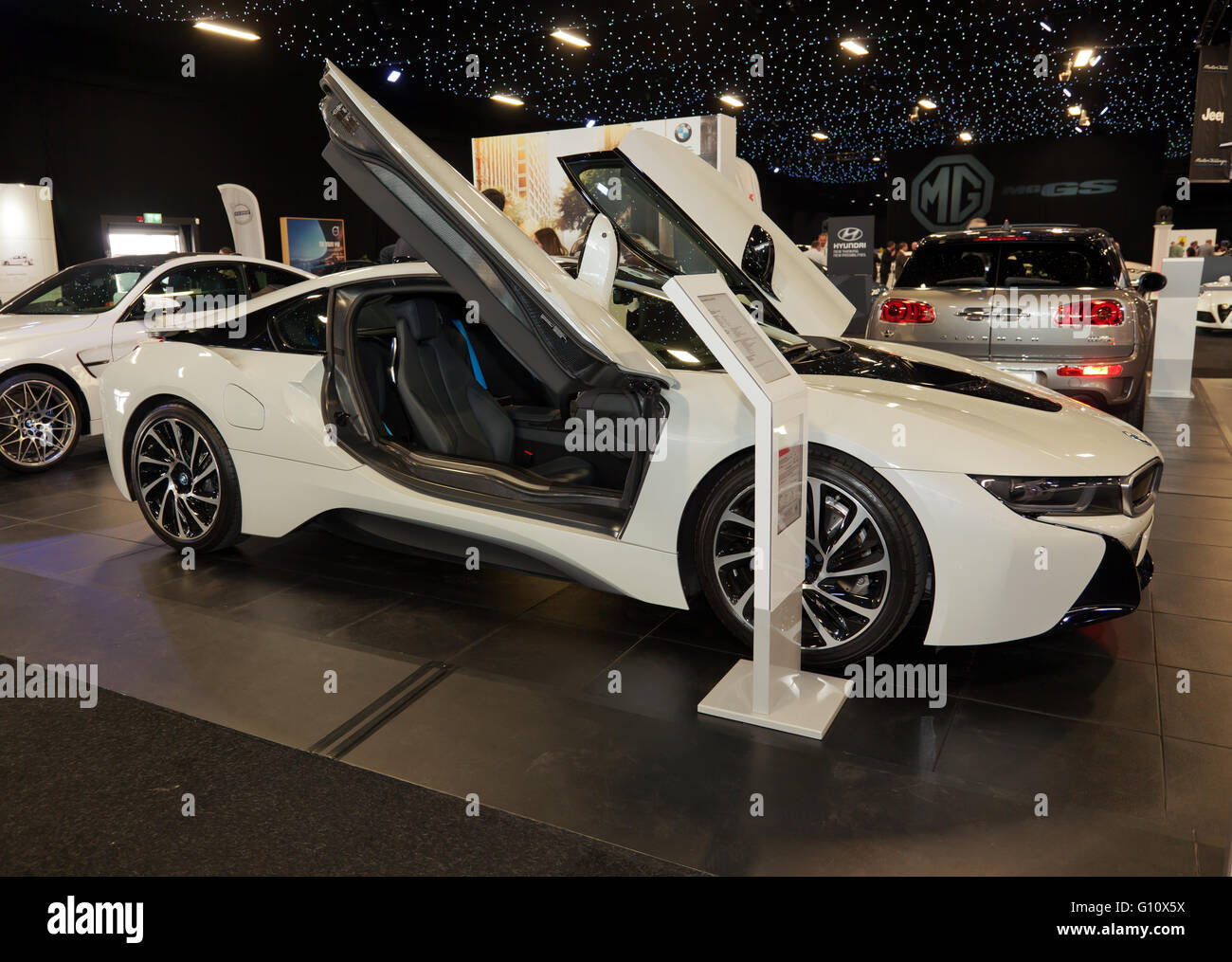 Side View Of The Production Model Of The Bmw I8 Plug In Hybrid Stock