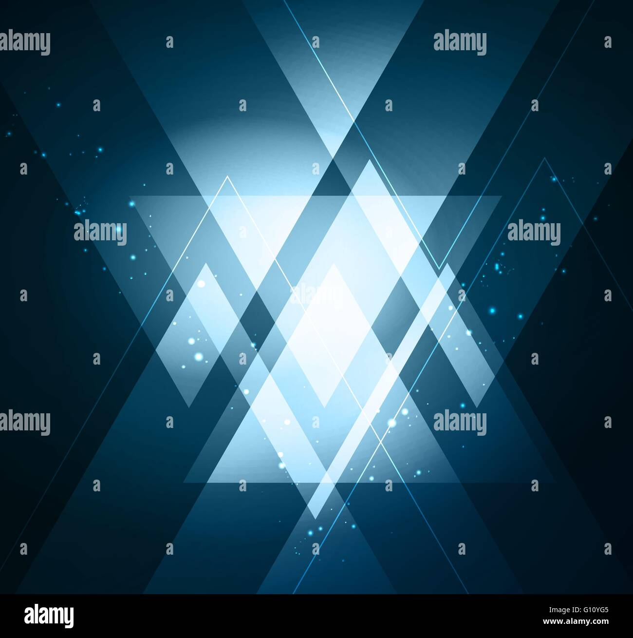 Elegant Geometric Background With Shiny Blue Triangles Vector Stock