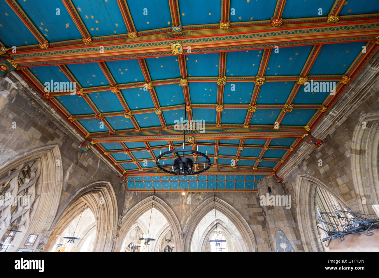 Celestial blue painted ceiling in St Mary's church, Beverley, Yorkshire and the Humber, England, - Stock Image