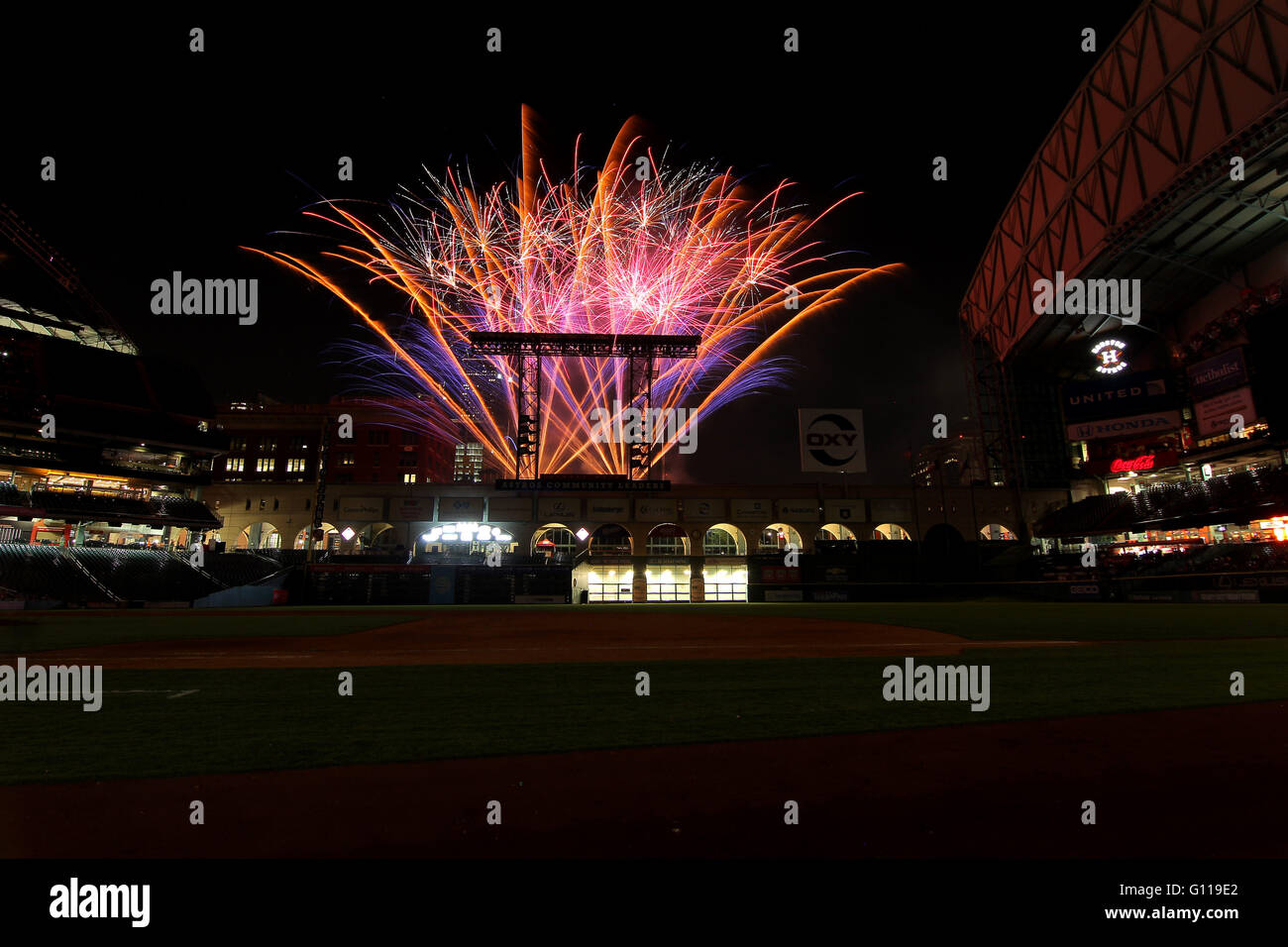 Houston, TX, USA. 06th May, 2016. Post Game Fireworks Light