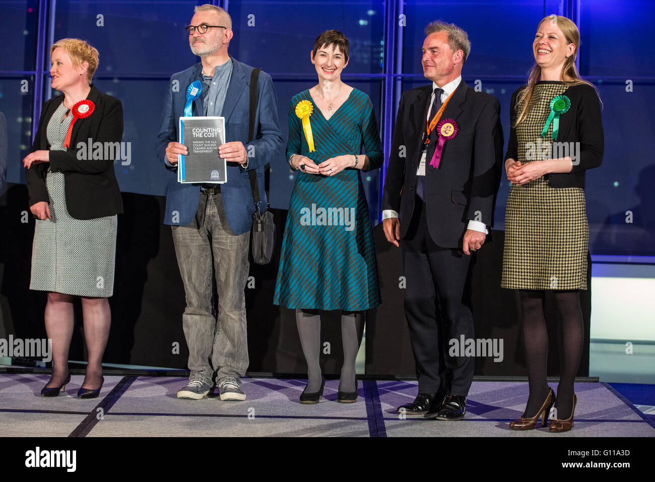 London, UK. 7th May, 2016. Newly elected Members of the London Assembly (l to r), Fiona Twycross (Labour), Andrew - Stock Image