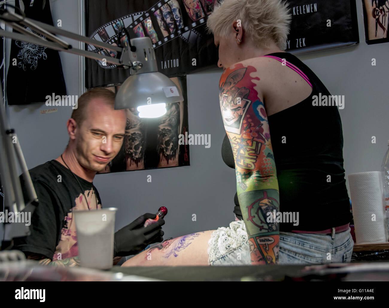 Rome, Italy. 06th May, 2016. Rome, XVII edition International Tattoo Expo. Over 500 international tattoo artists - Stock Image