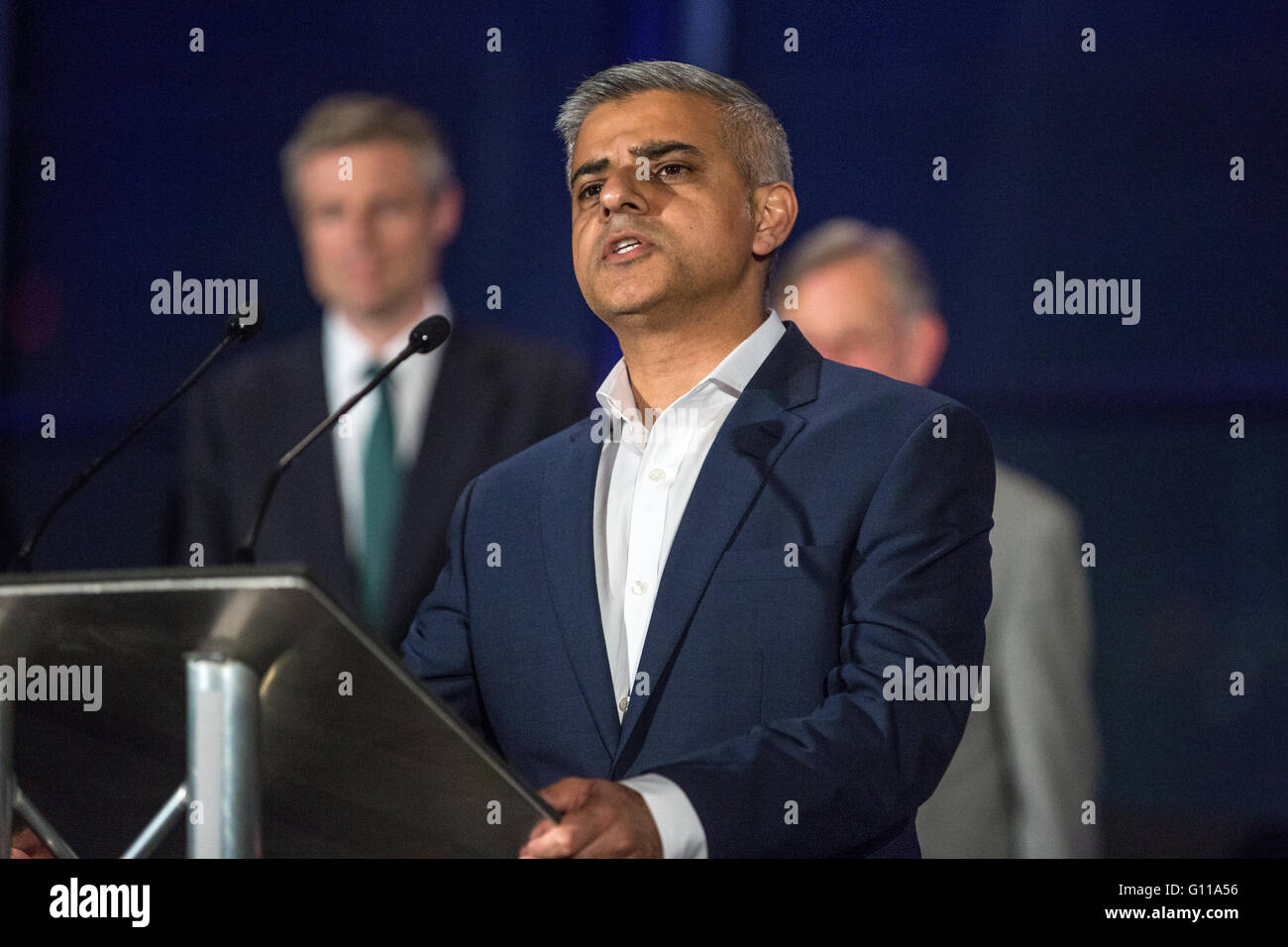 London, UK. 7th May, 2016. Sadiq Khan makes his victory speech at City Hall after being elected as Mayor of London. - Stock Image