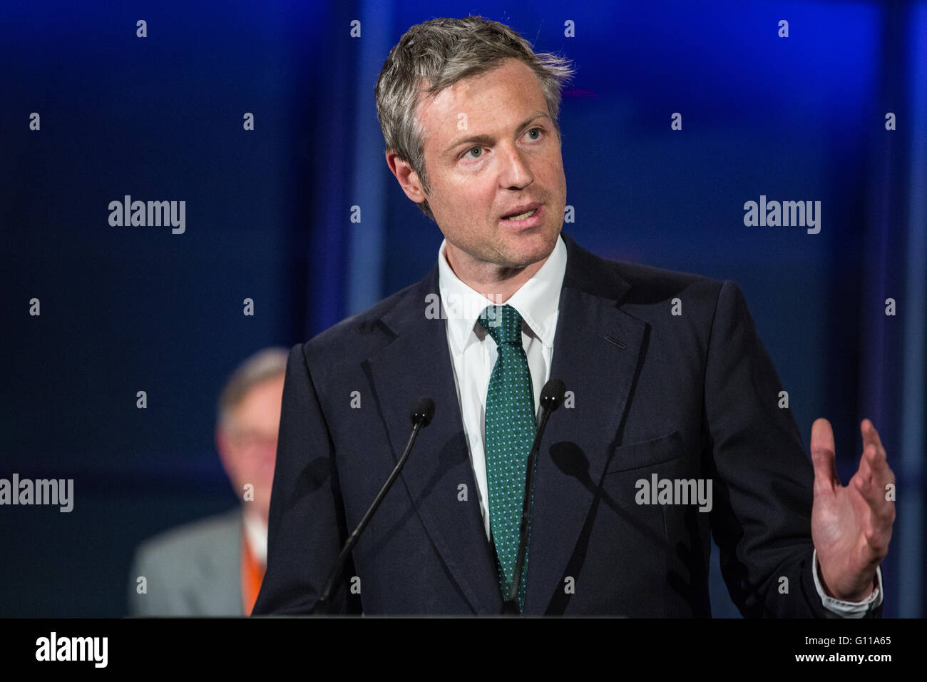London, UK. 7th May, 2016. Zac Goldsmith, the Conservative Party candidate to be London Mayor, speaks in City Hall - Stock Image
