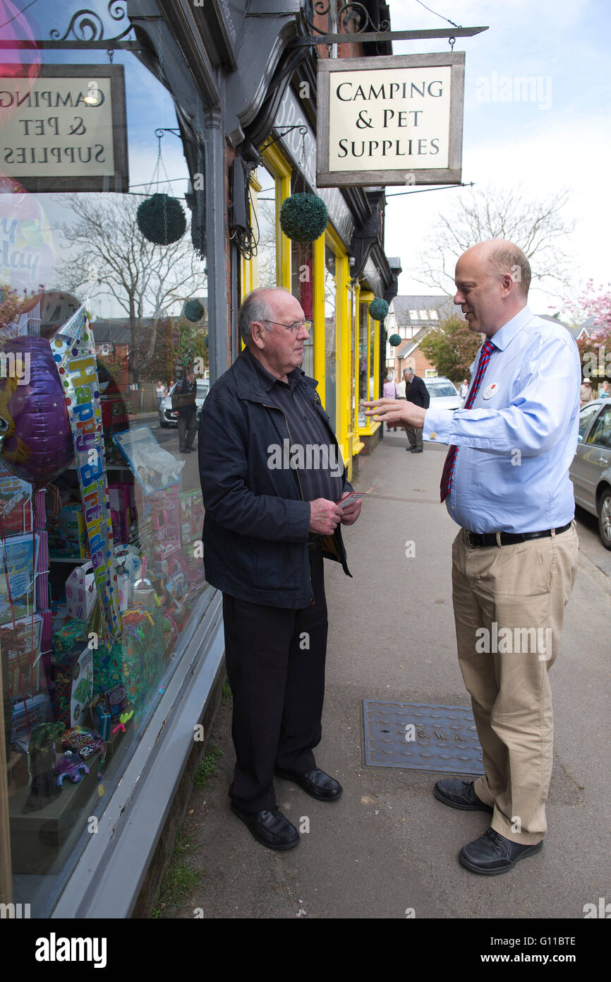 Brockenhurst Hampshire UK . 07th May, 2016. Pro-Brexit MP Chris Grayling Conservative, and Leader of the House of - Stock Image