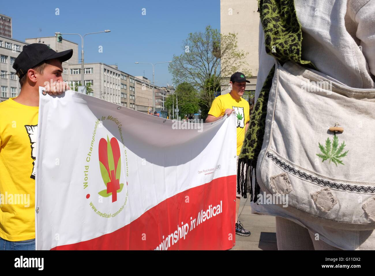The start of the first Million Marijuana March to be organized in Ostrava, Czech Republic, supporting the legalization - Stock Image