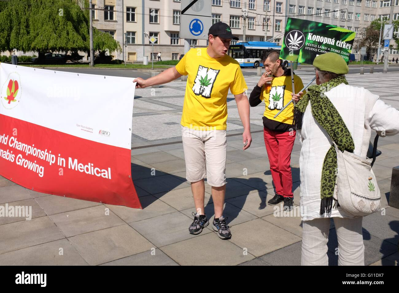 Supporters preparing for the first Million Marijuana March to be organized in Ostrava, Czech Republic, supporting - Stock Image