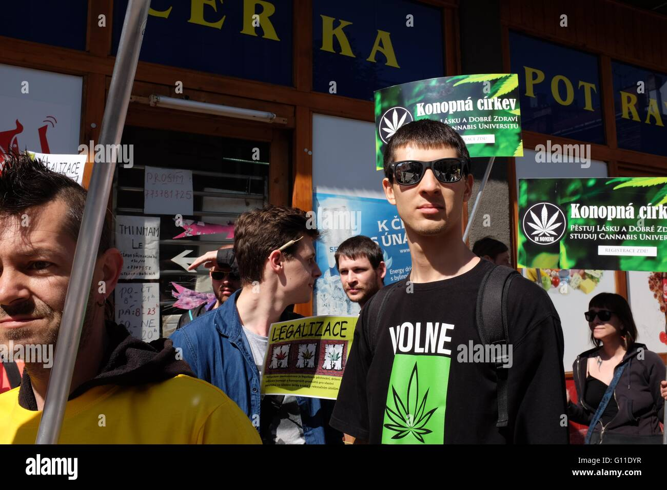 Supporters marching in the first Million Marijuana March to be organized in Ostrava, Czech Republic, supporting - Stock Image