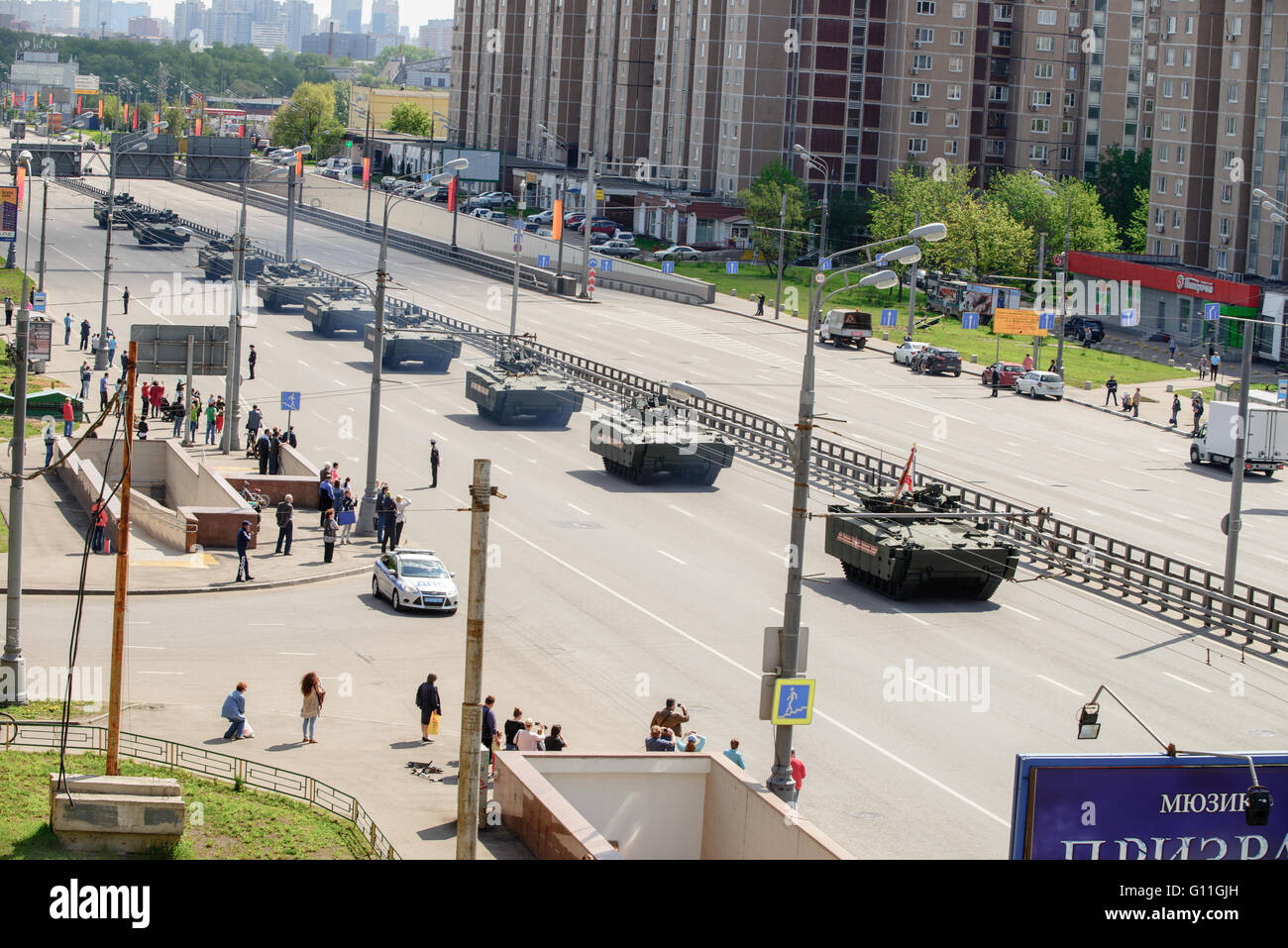 Russia.general Victory parade try-out through Moscow street - Zvenigorodskoe shosse on 7 May 2016 Credit:  Dmitry - Stock Image