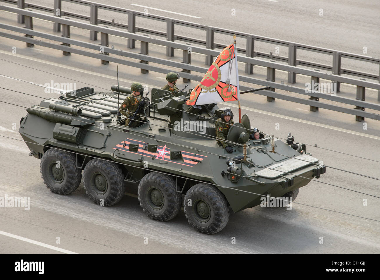 Russia.. 7th May 2016. Military technics are coming back to base location from general Victory parade try-out through - Stock Image