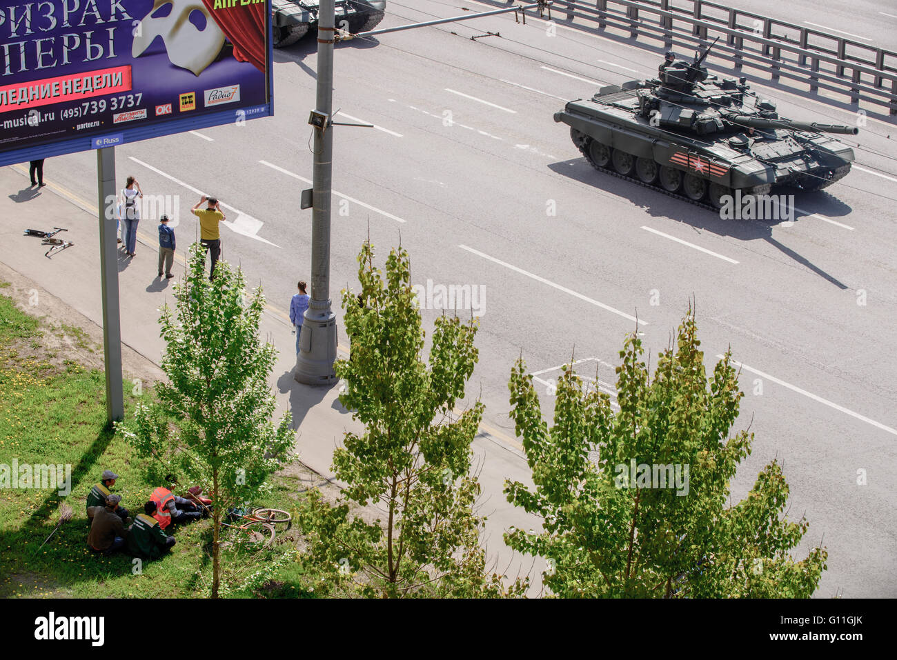 Russia.7th May 2016. Military technics are coming back to base location from general Victory parade try-out through - Stock Image