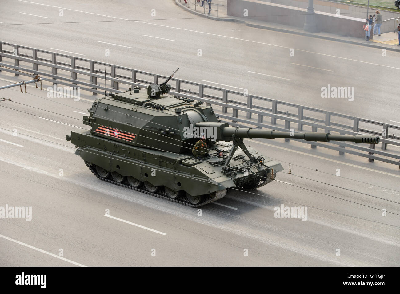 Russia. 7th May 2016. Military technics are coming back to base location from general Victory parade try-out through - Stock Image