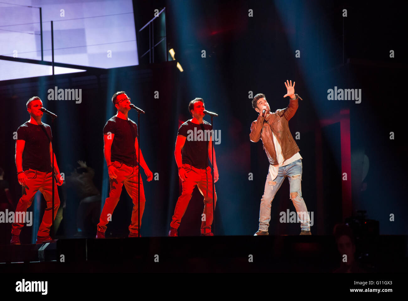 Stockholm, Sweden. 6th May 2016. Singer Freddie from Hungary is rehearsing hissong 'Pioneer' for the first semi Stock Photo