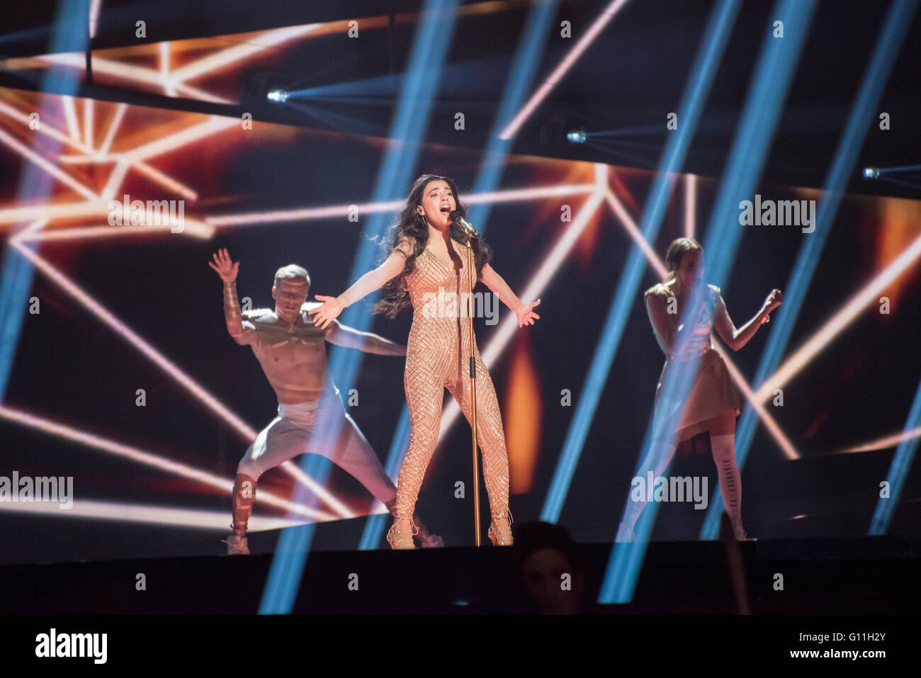 """Stockholm, Sweden. 6th May 2016. Singer Samra from Azerbaijan is rehearsing her song """"Miracle"""" for the first semi Stock Photo"""