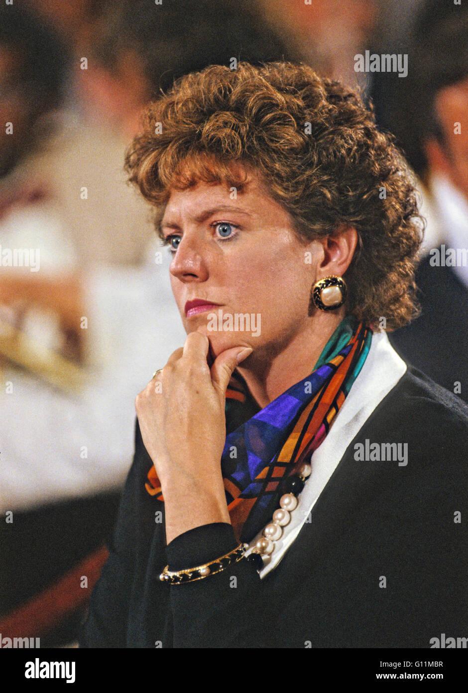 Washington, District of Columbia, USA. 11th Sep, 1991. Virginia Thomas watches the hearing before the US Senate - Stock Image